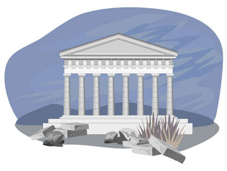archaeology: Antique temple illustration, isolated on white background