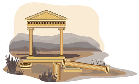 ionic: Antique temple illustration, isolated on white background