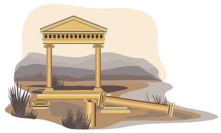 archaeological: Ilustraci�n del templo antiguo, aislado sobre fondo blanco