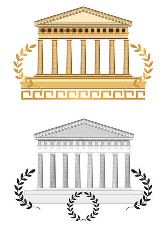 doric: Antique temple illustration, isolated on white background