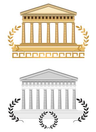 columna corintia: Ilustraci�n templo antiguo, aislado sobre fondo blanco Vectores