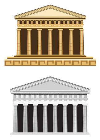 olympian: Antique temple illustration, isolated on white background