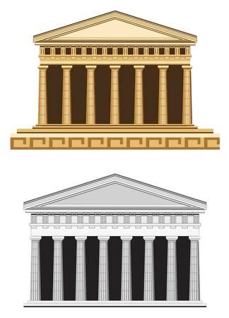 archaeological: Ilustraci�n templo antiguo, aislado sobre fondo blanco Vectores