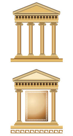 Antique temple illustration, isolated on white background