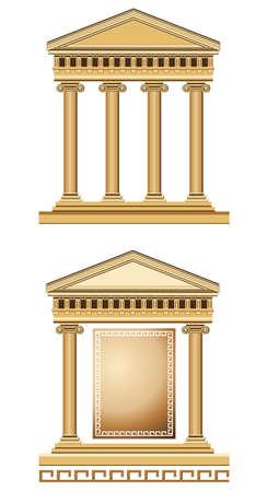 templo griego: Ilustración templo antiguo, aislado sobre fondo blanco Vectores