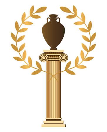 greek pot: Antica colonna greca con anfora e Olive Branch Vettoriali