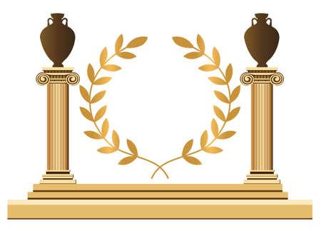 vasi greci: Antiche colonne greche con ramo di anfore e olive