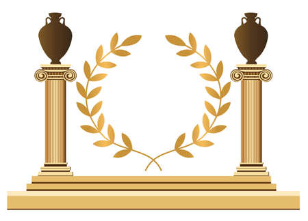 Antique Greek columns with amphoras and olive branch Vector