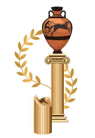 vasi greci: Antica colonna greca con anfora e Olive Branch Vettoriali