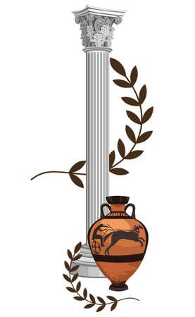 archaeological: Columna de antig�edad griega con �nfora y la rama de olivo Vectores