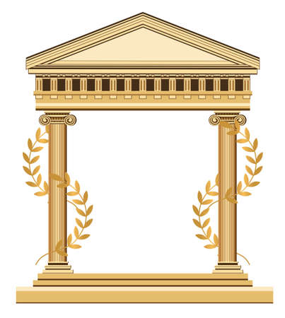 Illustration of an antique temple with olive branch, isolated on white