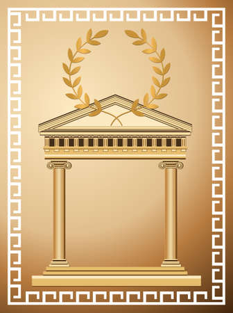 roman column: Antique temple background with olive branch and Greek pattern Illustration
