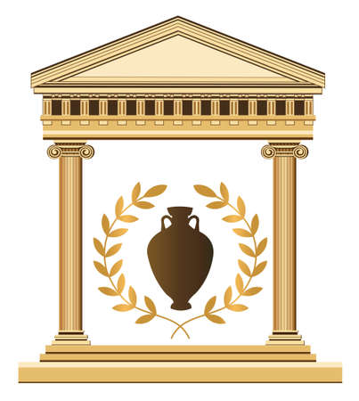 columns: Illustration of an antique temple, amphora and olive branch Illustration