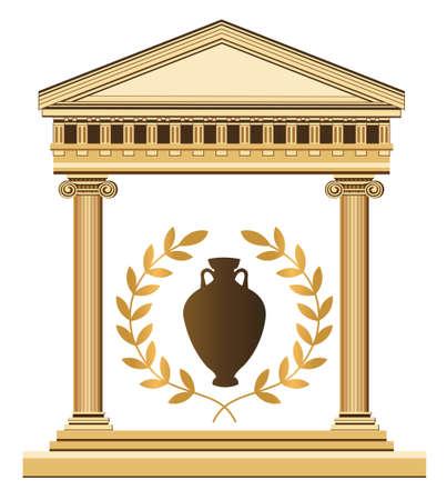 templo griego: Ilustración de un templo antiguo, ánfora y rama de olivo