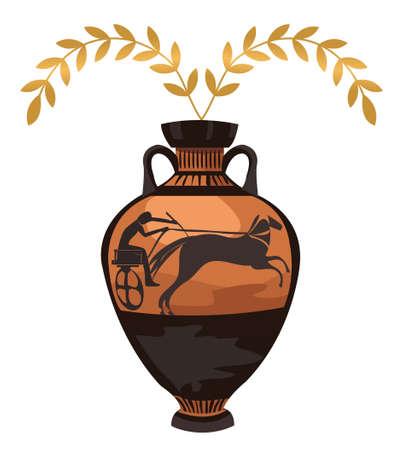 vasi greci: Antico vaso greco con ramo d'ulivo, isolato su bianco