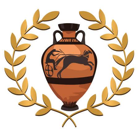arte greca: Antico vaso greco con ramo d'ulivo, isolato su bianco