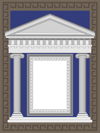 roman pillar: Antique temple illustration in Greek style frame