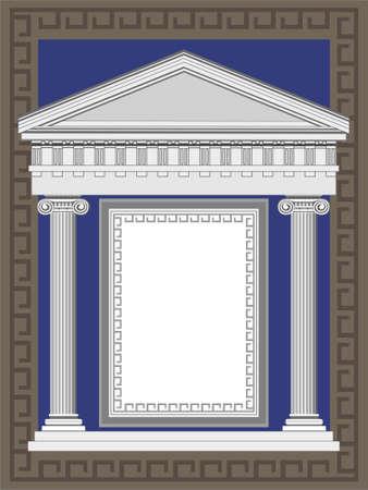 pilastri: Illustrazione tempio antico telaio in stile greco Vettoriali