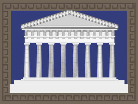 columns: Antique temple illustration in Greek style frame