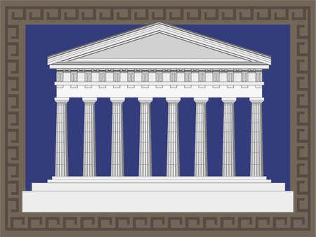 archaeological: Ilustraci�n del templo antiguo en el marco de estilo griego Vectores