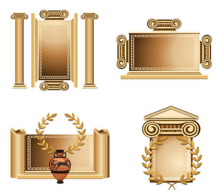 roman column: Antique themed frames with olive branch and Greek vase