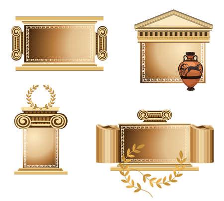 templo romano: Antiguos marcos temáticos con rama de olivo y vaso griego