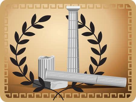 archaeological: Ilustraci�n con las ruinas de las columnas antiguas y rama de olivo