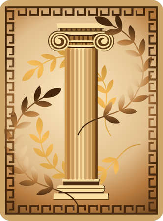 Illustration with antique ionic column and olive branch