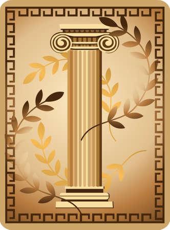 arte greca: Illustrazione con antica colonna ionica e ramo d'ulivo