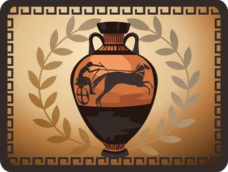 vasi greci: Illustrazione con antico vaso greco e ramo d'ulivo Vettoriali