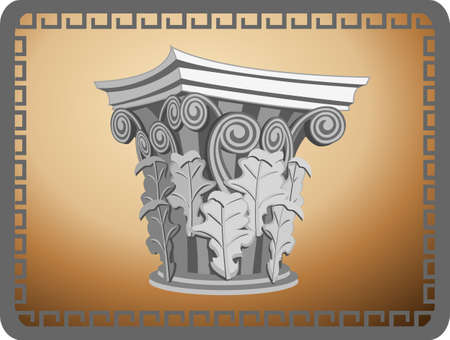 Illustration with an antique corinthian column head