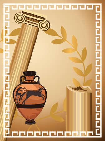 greek pot: Illustrazione con antiche colonne greche, vasi e il ramo d'oliva Vettoriali