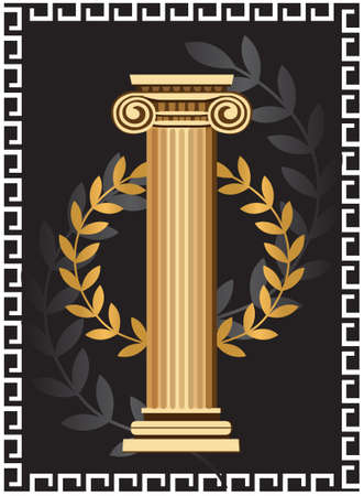archaeology: Illustration with antique ionic column and olive branch