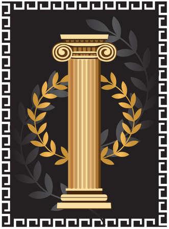 antigua grecia: Ilustración con la columna antigua iónica y la rama de olivo