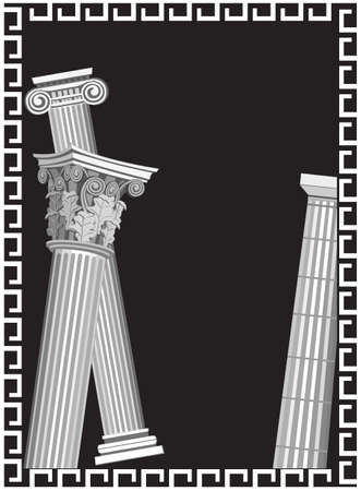 Background illustration with antique Greek columns