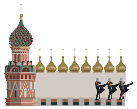 kremlin: Frame illustration with Kremlin tower and soldiers, isolated on white