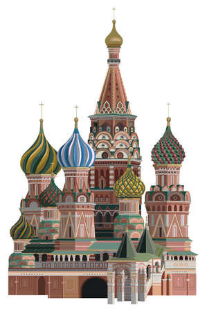 Illustration of Saint Basil Cathedral, isolated on white background Illustration