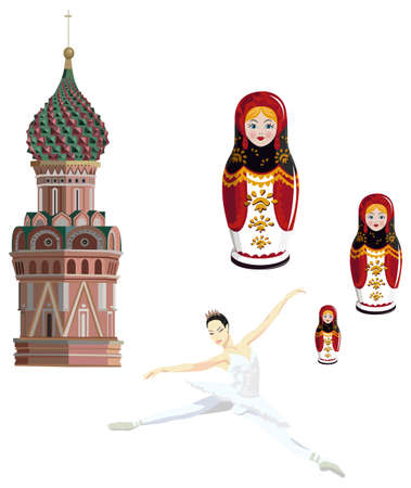 Illustration of Kremlin tower, ballerina and russian dolls, isolated on white background Vector
