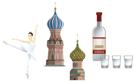 Illustration of Kremlin towers, ballerina and russian vodka, isolated on white background Vector