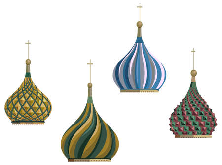 Illustration of Kremlin domes, isolated on white background