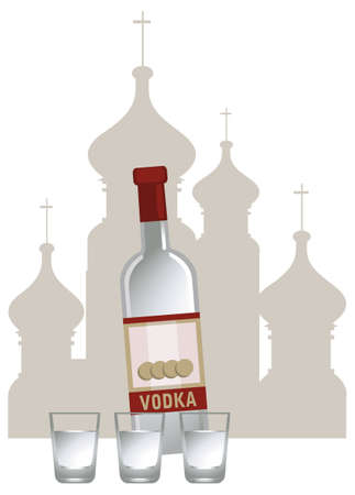 vodka: Illustration of russian vodka and Kremlin silhouette, isolated on white background