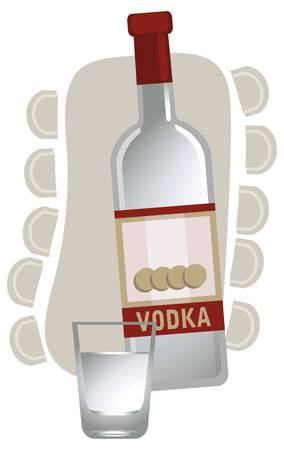vodka: Illustration with a vodka bottle and glass, isolated on white background