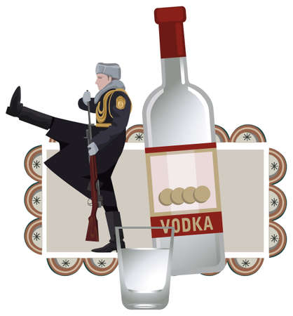 vodka: Illustration with russian soldier and vodka, isolated on white background