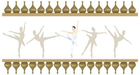 Ilustración marco ornamental con bailarinas rusas, aisladas en blanco Foto de archivo - 15247979