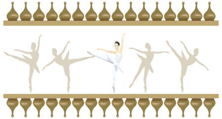 Ornamental frame illustration with russian ballerinas, isolated on white Vector