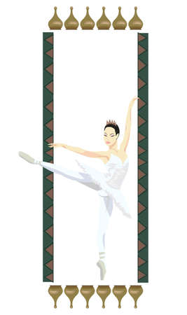 Ornamental frame illustration with russian ballerina, isolated on white Stock Vector - 15247938