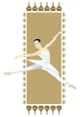 Ornamental frame illustration with russian ballerina, isolated on white Vector