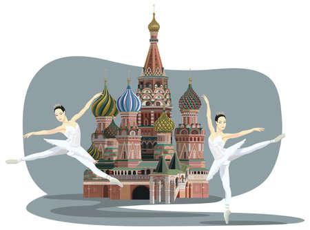 Illustration of Saint Basil Cathedral with Russian ballerinas Vector