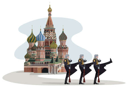 red square moscow: Illustration of Saint Basil Cathedral with marching Russian soldiers