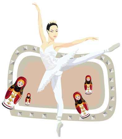Frame illustration with russian ballerina and russian dolls, isolated on white Vector